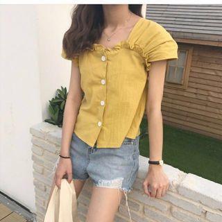🚚 夏祭女裝韓版修身顯瘦短袖娃娃衫復古襯衫上衣