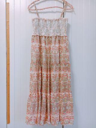 🚚 降價!日本品牌 細肩帶變形蟲圖騰粉橘色蕾絲鬆緊洋裝