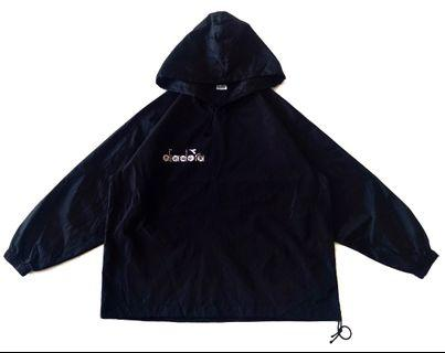 Vintage Diadora  Spell Out Windbreaker Hooded Made in Italy