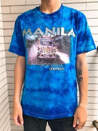 古著美式藍色渲染t恤