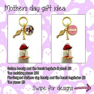 Mothers day custom beauty and the beast keychains