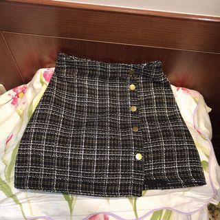 黑白格紋褲裙窄裙