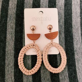 BNIP Ratten Woven Statement Earrings