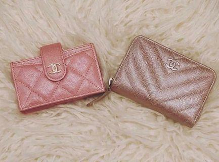 Chanel 19S Iridescent Pink Multi Carte Card Holders