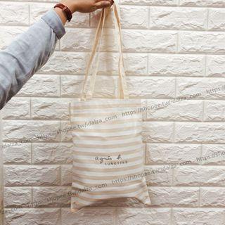 ☆Idalza☆ Agnes B 日本 專櫃贈品 便攜 條紋 自然風 單肩包 帆布袋 棉布 托特包 摺疊 購物袋 書袋
