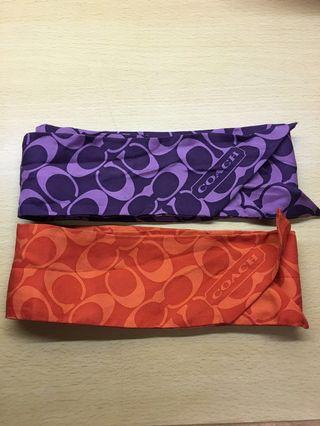 Coach mini silk scarfs 手袋巾
