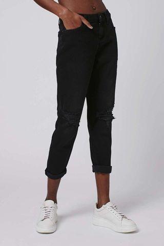 Topshop Petite Black Rip Lucas Jeans