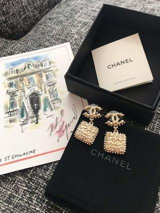 Chanel 真品正品大水鑽雙面耳環 vintage 感