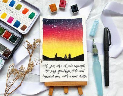 Sunset galaxy calligraphy card