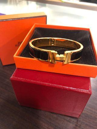 🚚 HERMES clic H 黑金 手環
