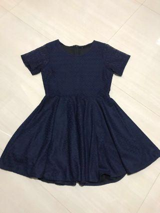 NAVY LACED DRESS