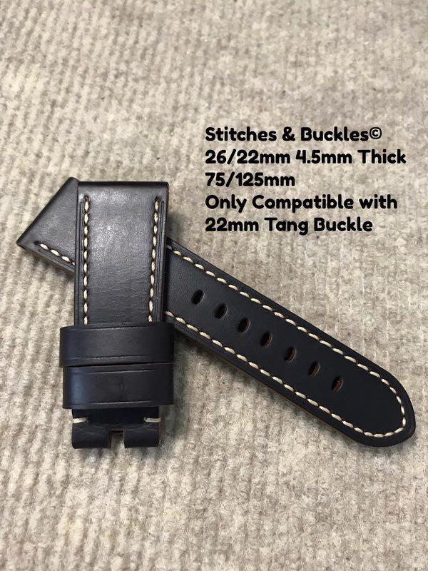 26/22mm Quality Thick Calf Dark Brown Leather Strap for Panerai 45/47mm Radiomir 47mm Luminor / Submersible Models