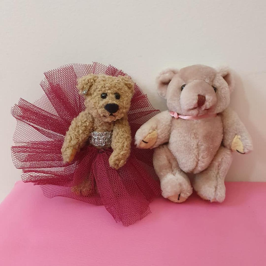 2x Vgc Vintage Jointed Teddy Bears fancy dress tutu 10.5cm 12cm