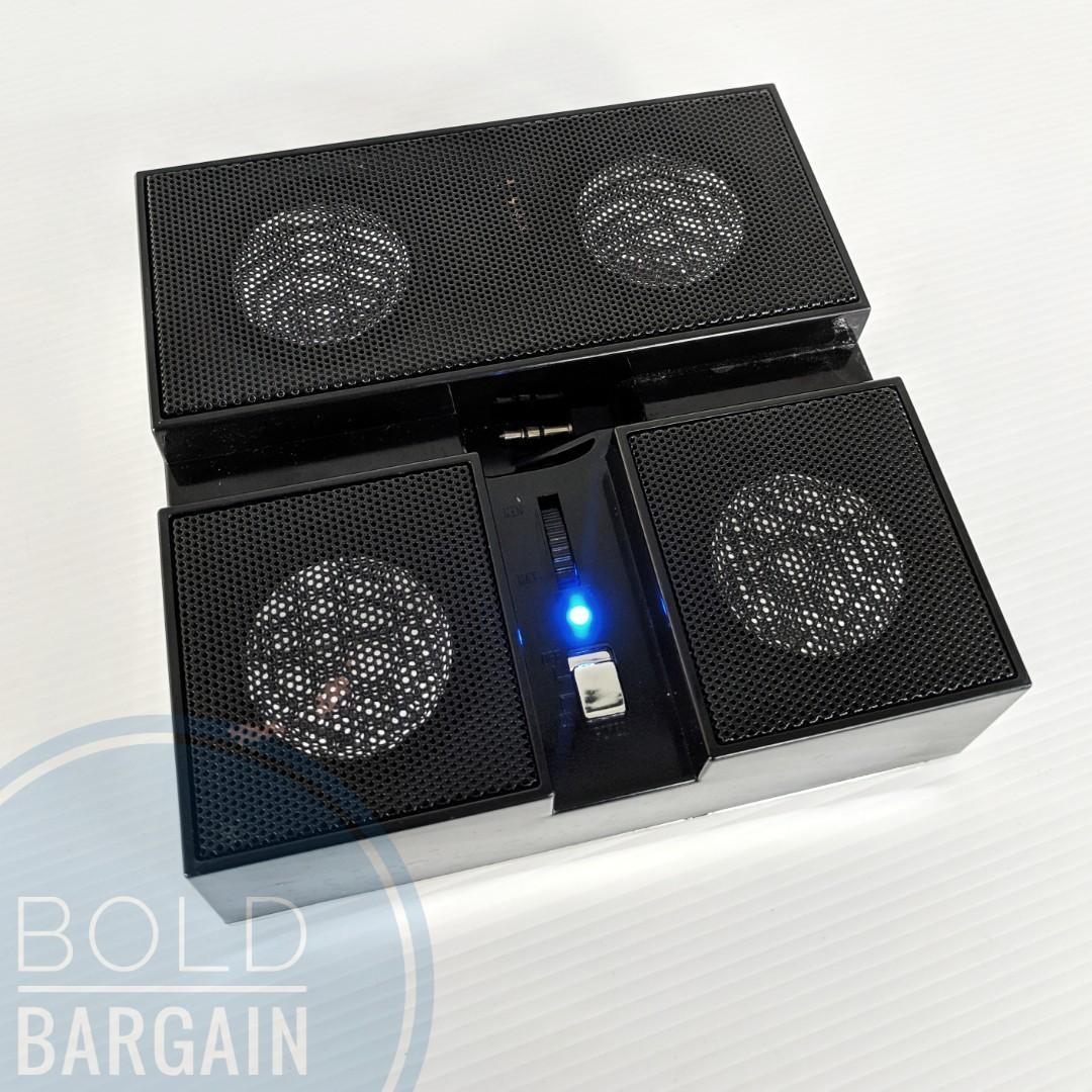 4 speaker Quad Active Portable Speaker System Battery Operated