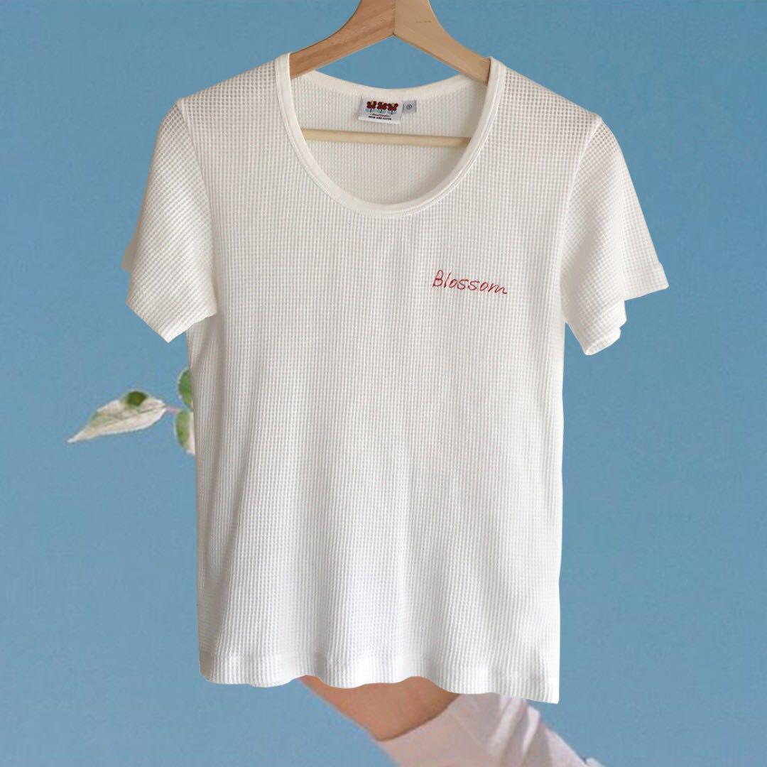 【斷捨離-8成新】白色字母繡花寬鬆短袖T恤上衣