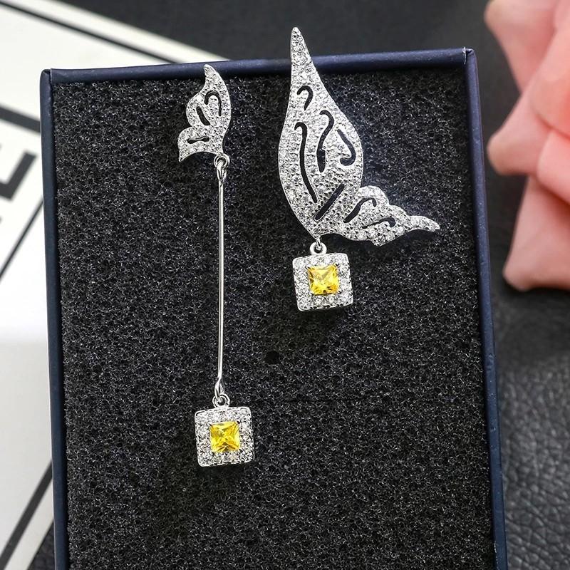 閃鑽 黃寶石 不對稱 蝴蝶 耳環