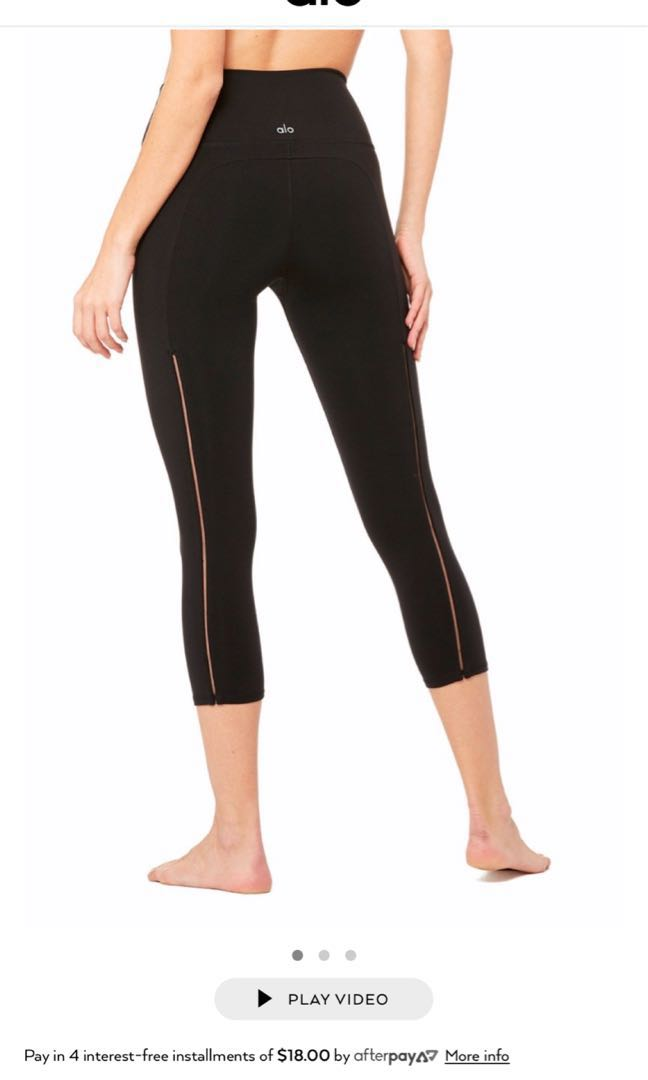 1e1532c68e73a Alo yoga high waist dash Capri black, Sports, Sports Apparel on ...