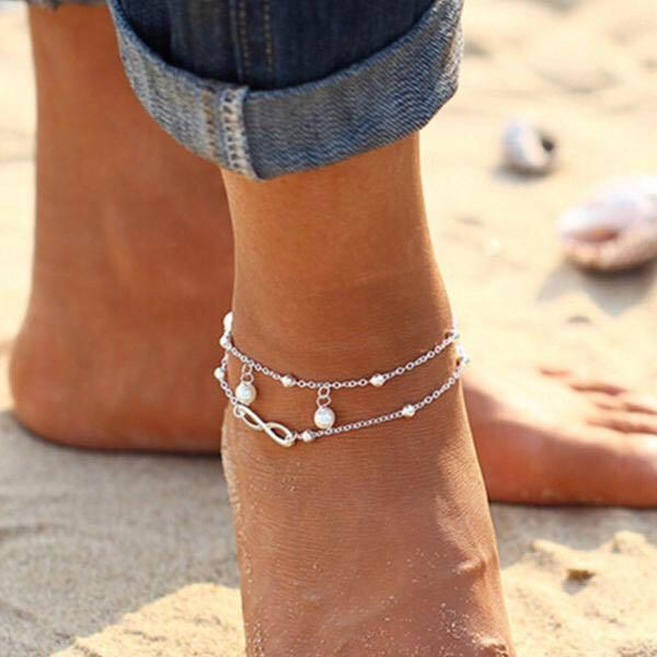 Ankle Chain Boho Beach Sandal Barefoot Infinity Charm Bead Ankle Bracelet