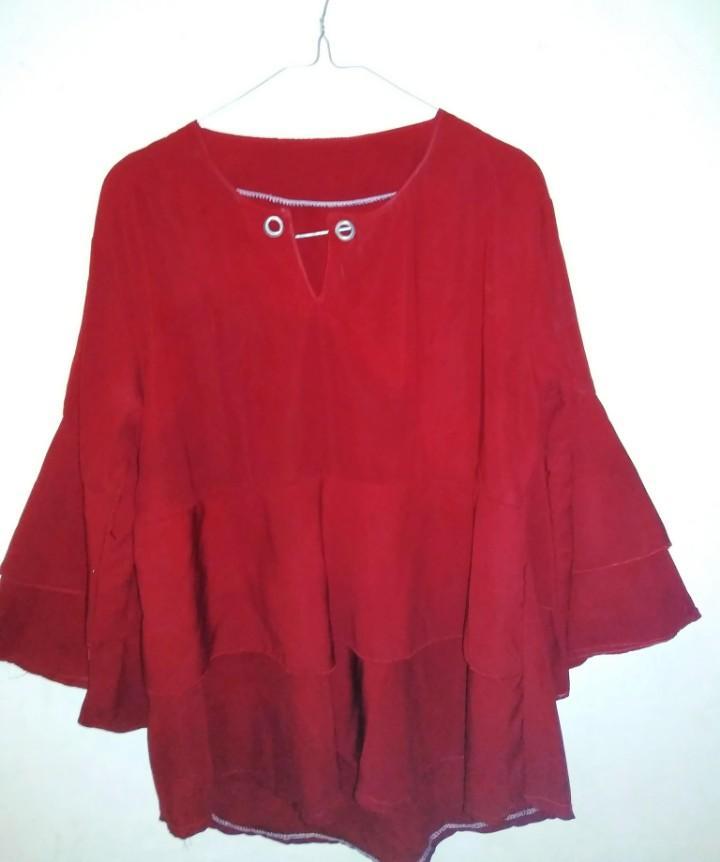 Baju muslim merah maroon
