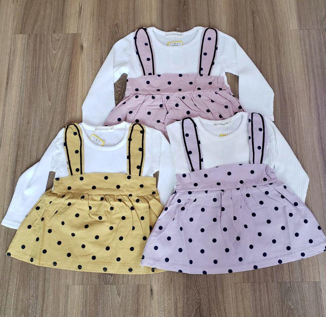 Baju Rok Gantung Premium Bayi Perempuan Motif Polkadot Umur 1 4 Tahun Bayi Anak Baju Anak Perempuan 1 Hingga 3 Tahun Di Carousell