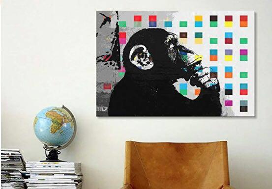 Banksy - The Thinker Monkey (Canvas Print)