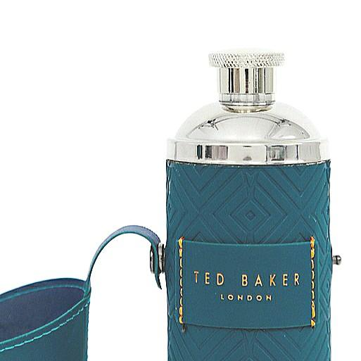 BNIP Ted Baker Water Bottle Flask + 2 Shot Cups // 350ml / 12oz // Stainless Steel, Soft Touch Faux Leather in Teal Geo Green // Liquor Whiskey Hip Flask // Portable, Travel Sized // Reusable, Eco friendly, Zero Waste