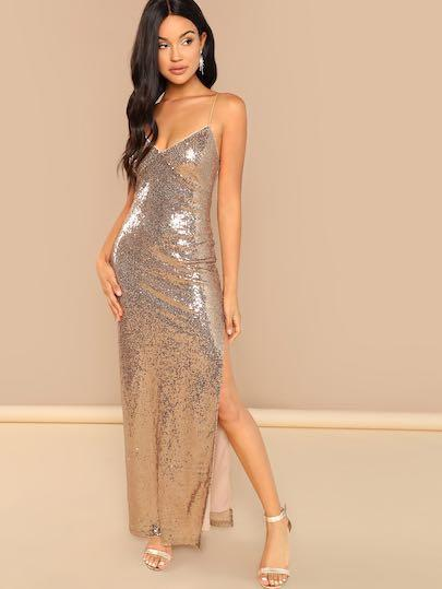 BNWT Rose Gold Sequin Prom Dress