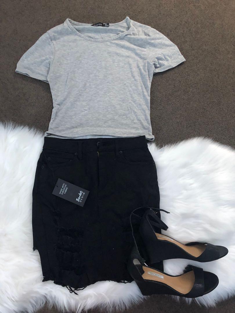 Boohoo tops • Bardot denim black skirt 8