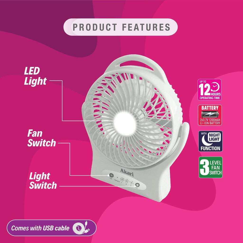Brand New Akari 7 Led Cooling Fan Rechargeable Electronics
