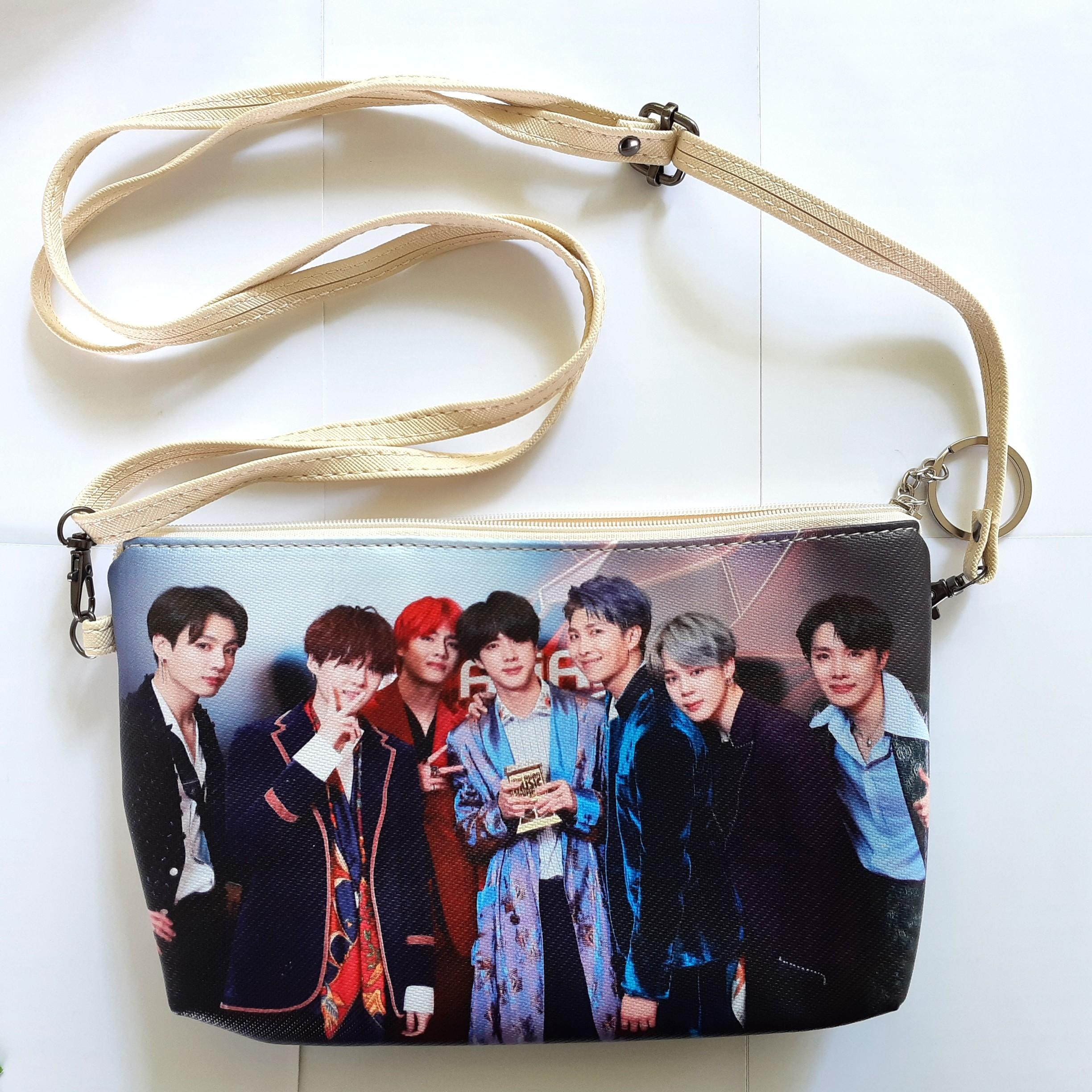 BTS's Sling Bag Cum Pouch **New & Nicely Double Printed**