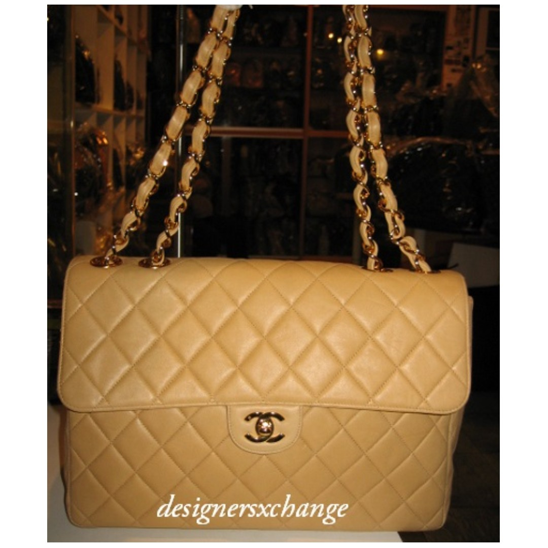 344bd54b8e7 Chanel Camel Lambskin Jumbo Quilted Classic 2.55 Gold Hardware ...