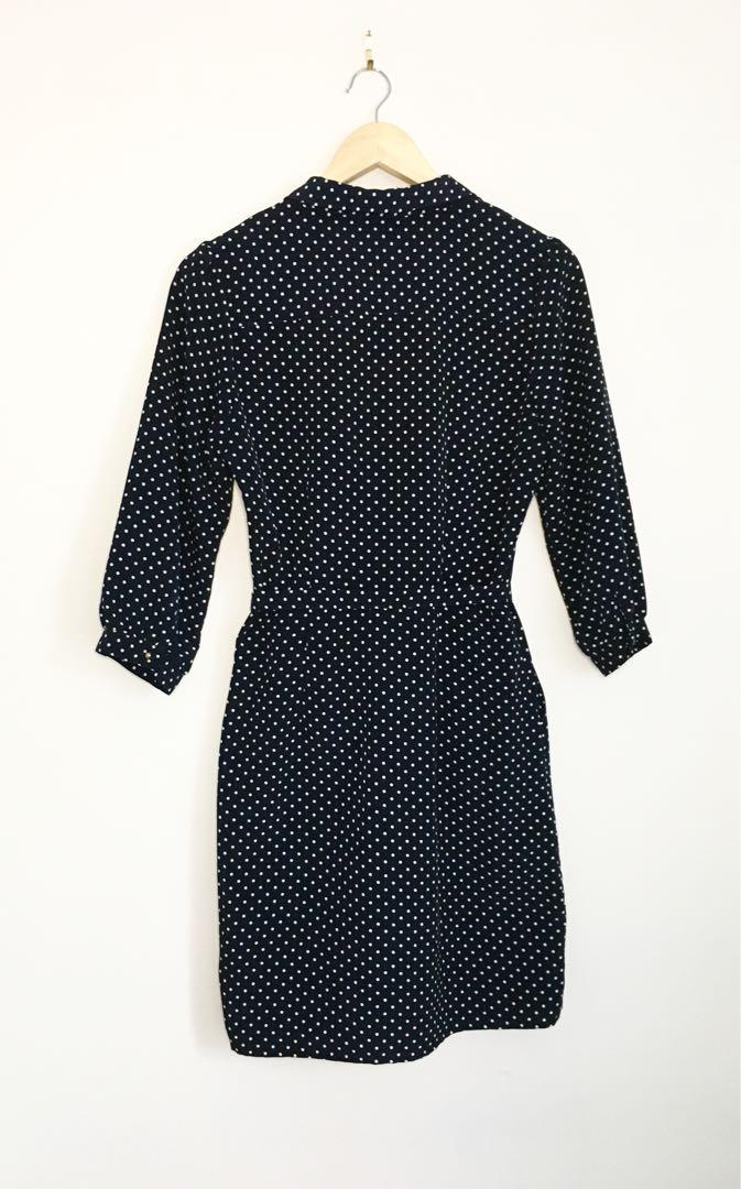F21 navy white polka dot dress