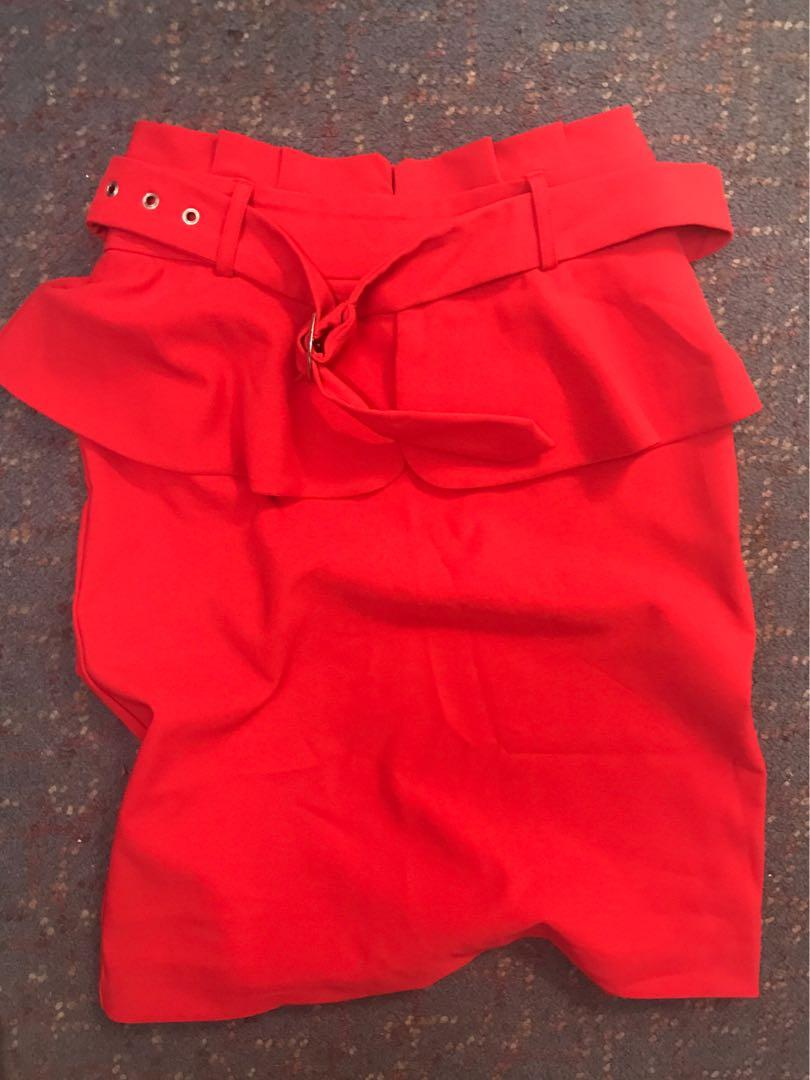 Forcast Ollie Belted Red Skirt size 6 (fits size M)