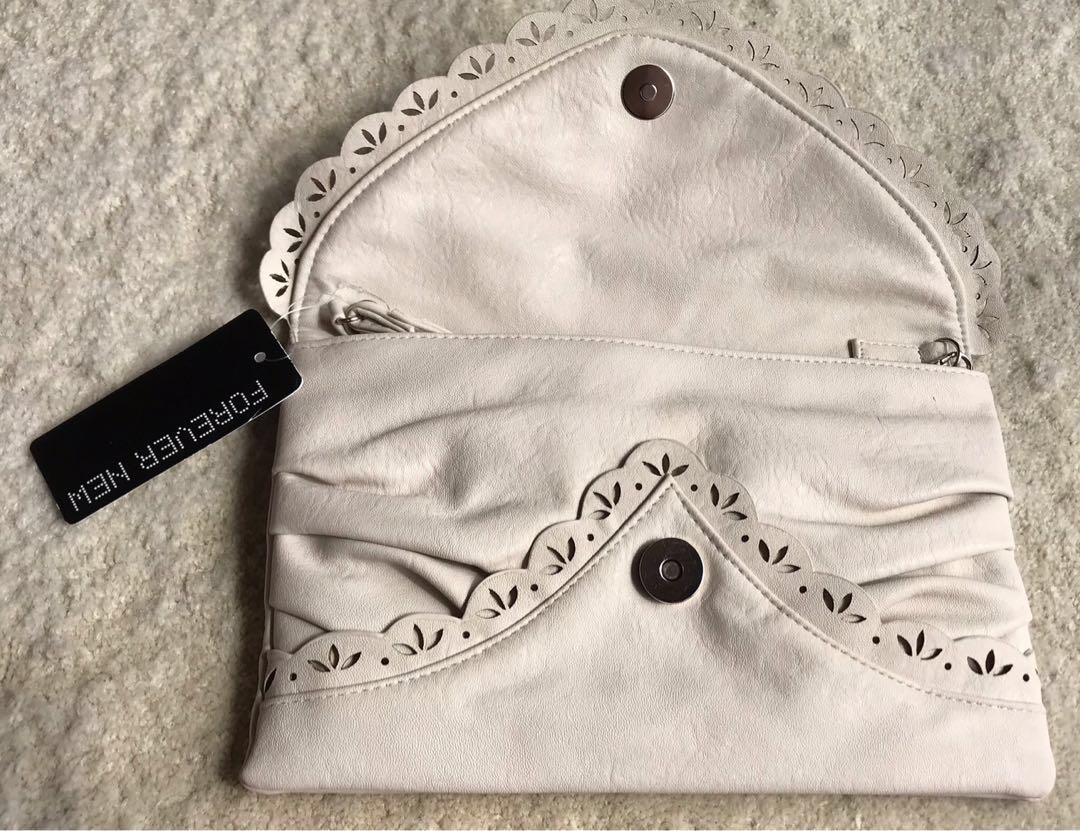 Forever New envelope scallop clutch - cream colour