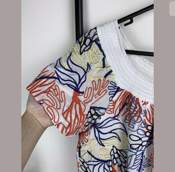 French Connection sz 10 white multicolour top shirt heavy embroidery ocean leaf