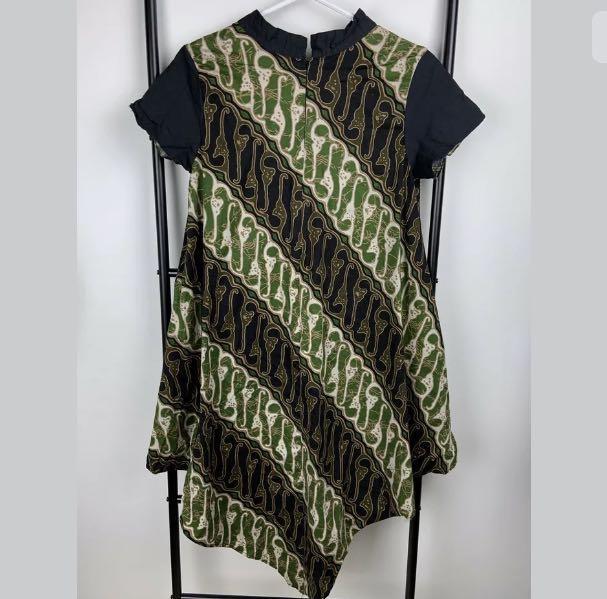 Green Black sz M/L Indonesian Batik dress traditional multicultural festival