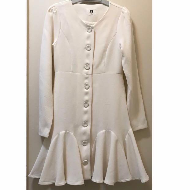 Kanzi cream white skater flare long sleeve dress coat