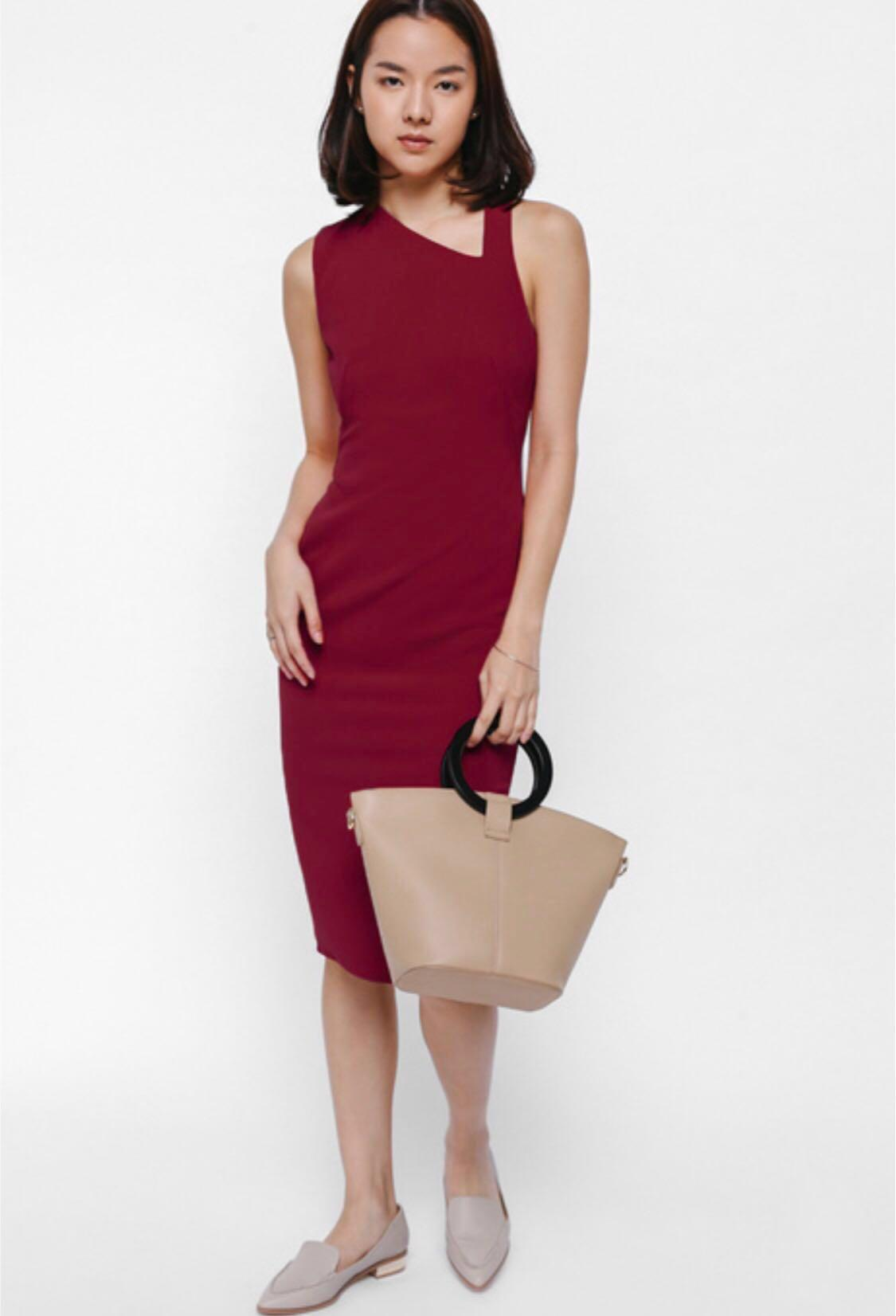 Love Bonito Red Bodycon Midi Dress