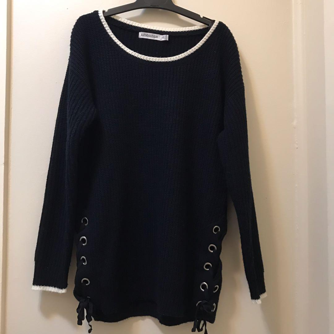 Navy knit wide neck jumper with side lace up eyelet decoration
