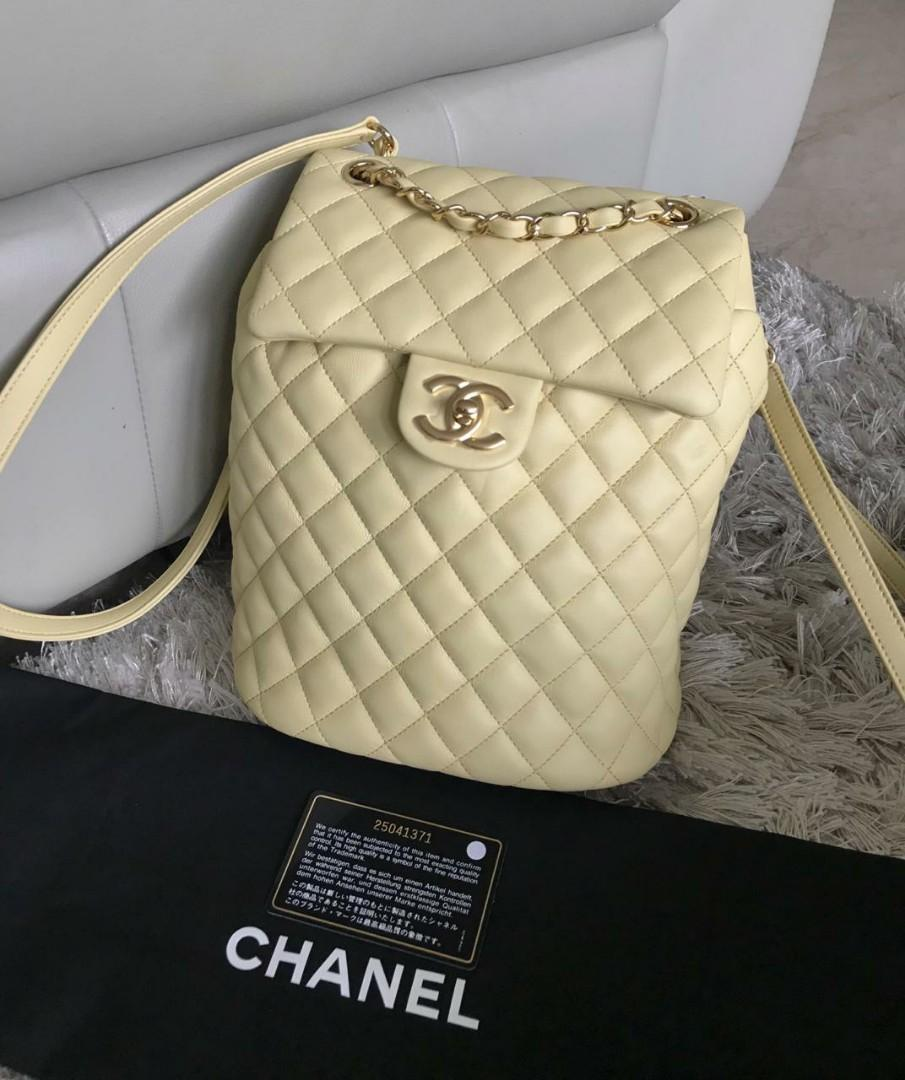 New (NBU) Chanel Backpack Urban Spirit Small Light Yellow GHW #25, Uk. Alas 20 x 23 x 10 Cm, with DB, Card & Holo ||
