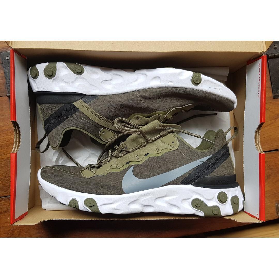 Nike React Element 55 - Olive Grey Black - US 11, UK 10