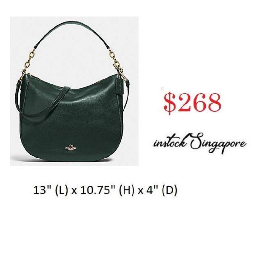 READY STOCK -AUTHENTIC - NEW  COACH 31399 ELLE HOBO full leather crossbody strap PEBBLE LEATHER ELLE HOBO 32