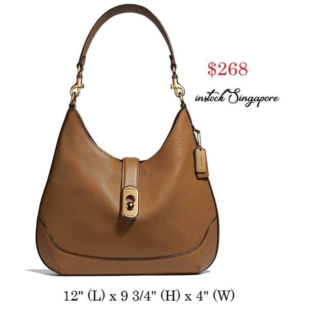 READY STOCK -AUTHENTIC - NEW  COACH AMBER HOBO (COACH F48635) full leather shoulder LIGHT SADDLE/GOLD