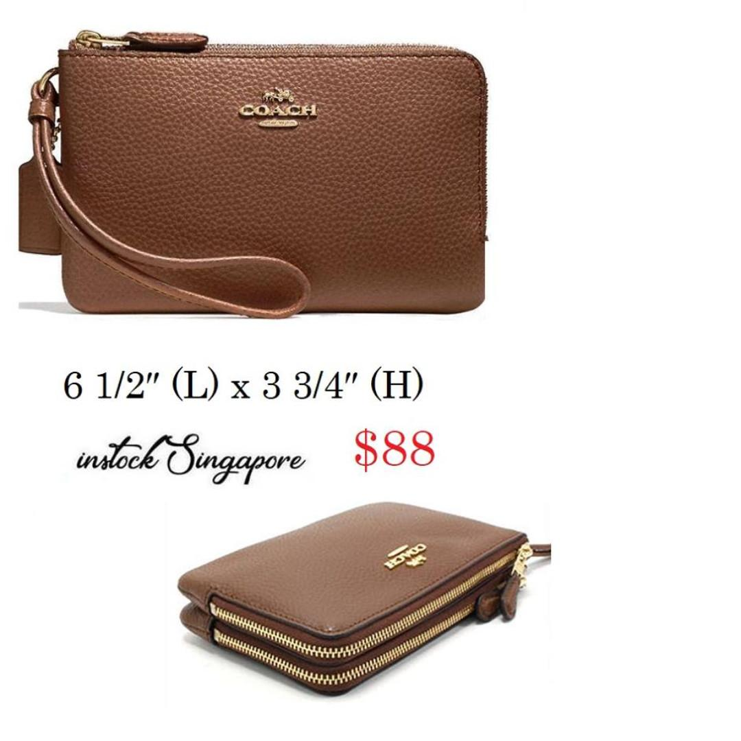 READY STOCK- AUTHENTIC-NEW Coach Double Corner Zip Wallet In Polished Pebble Leather Saddle Brown F87590