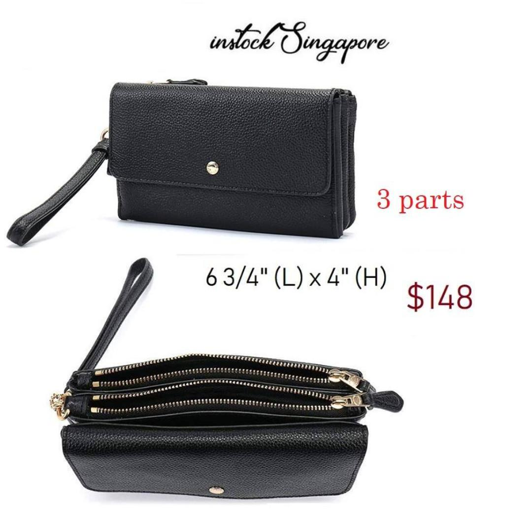 READY STOCK- AUTHENTIC-NEW  Coach Triple Small Wallet wristlet wallet boutique item 29609 BLACK/LIGHT GOLD