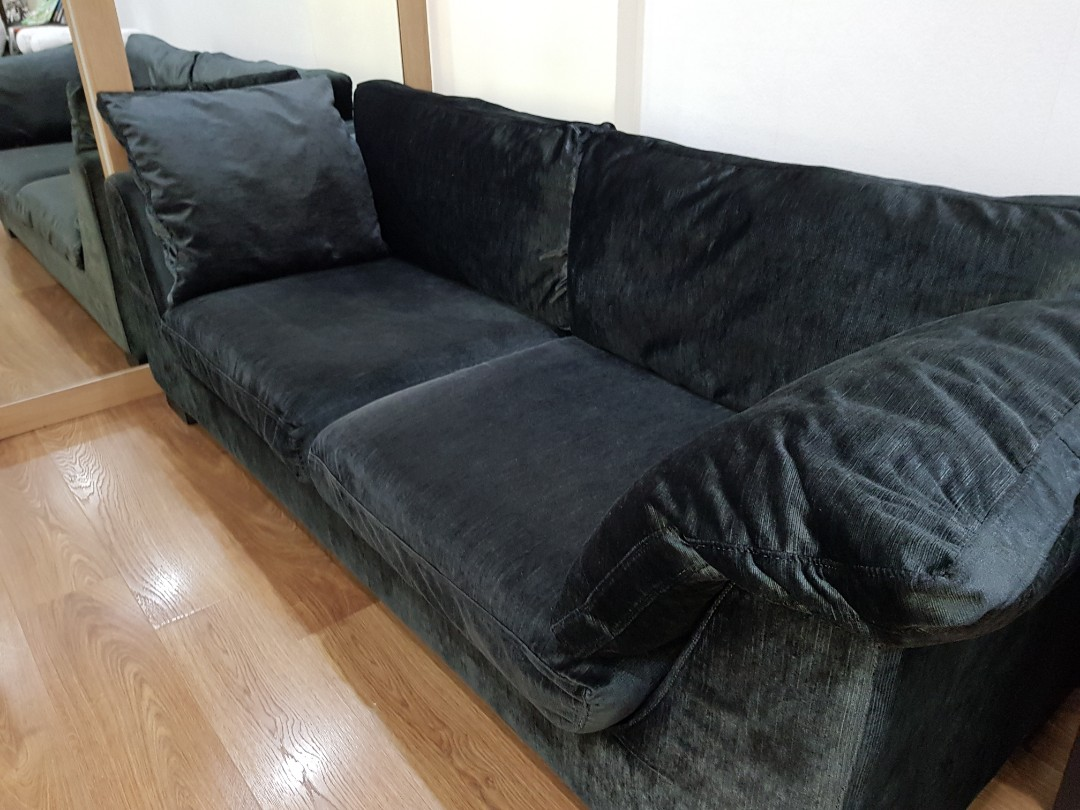 Shiny Dark Blue Velvet Sofa For Sale
