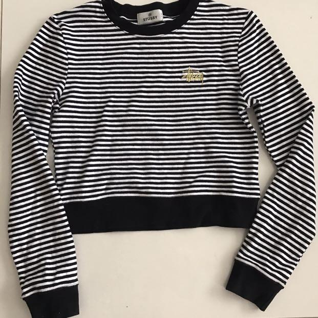 Stussy ringer black and white striped gold embroidered stussy logo cropped sweatshirt
