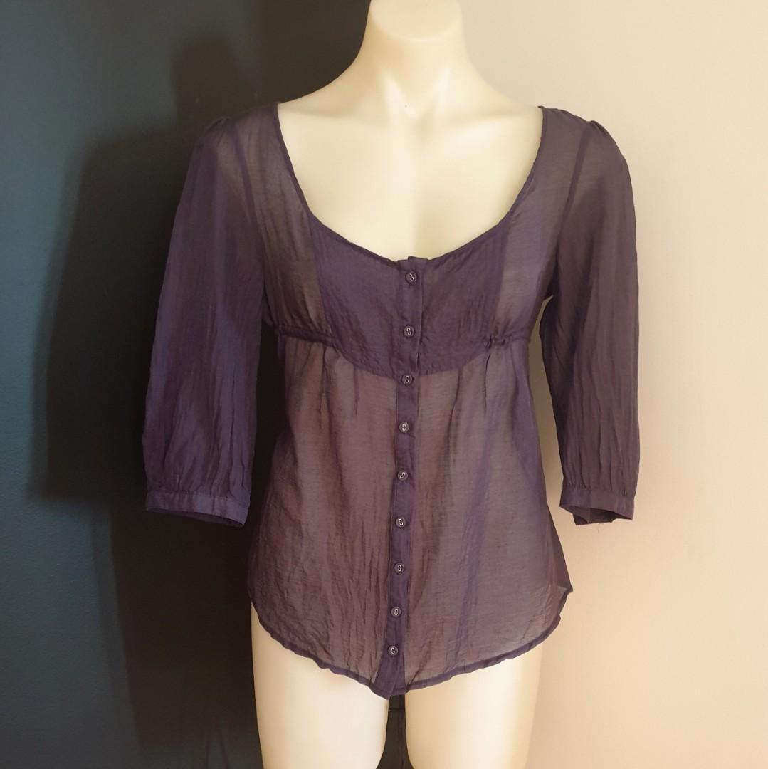 Women's size 12 'OJAY' Gorgeous sheer grey cotton silk blend button down blouse  - AS NEW