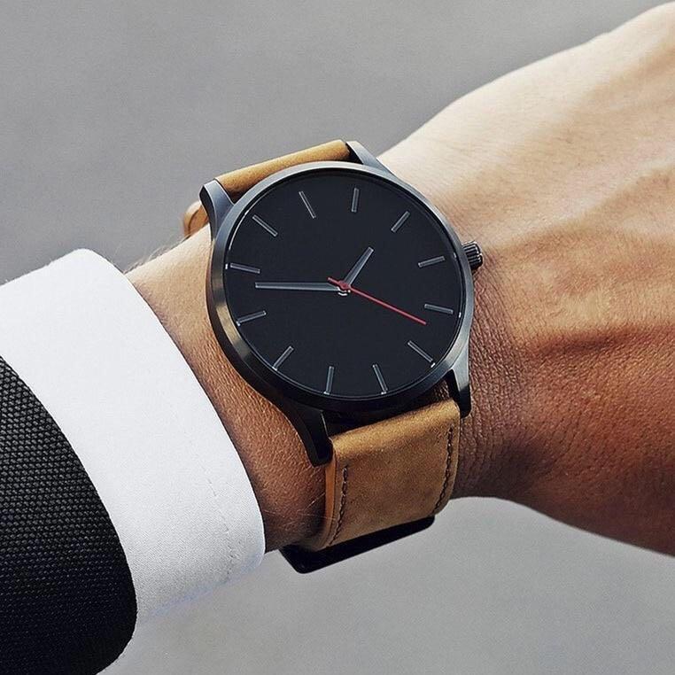 Wrist Watch Men's Fashion Large Dial Leather Strap Quartz Watch Casual Minimalist Sports Watch