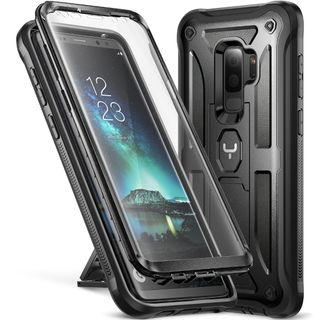 YOUMAKER Galaxy S9+ Plus Case, Kickstand Case with Built-in Screen Protector Shockproof Case Cover for Samsung Galaxy S9 Plus 6.2 inch (2018) - Black